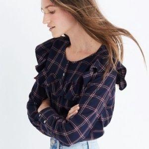Madewell Plaid Ruffle Shirt Size L